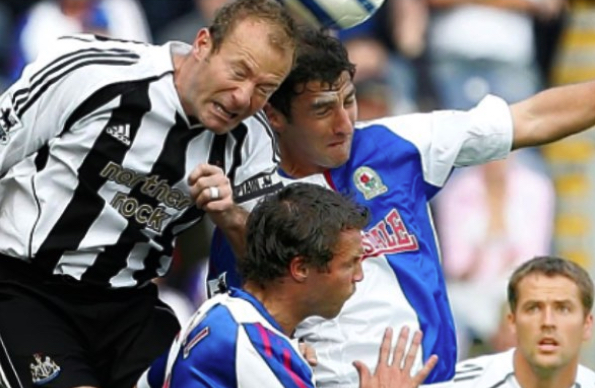 Playing for Blackburn, Zurab challenges Newcastle's Alan Shearer with Michael Owen and Lucas Neill watching on (Image from Zurab's Instagram)