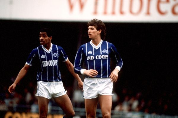 Bright and Lineker play for Leicester against Luton Town (image from Tumblr)