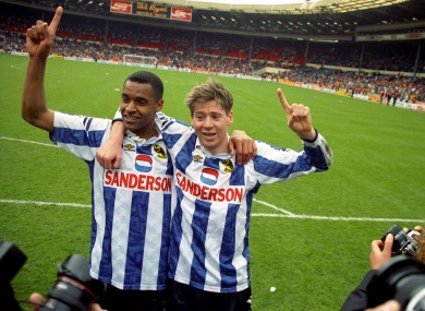 Bright and Waddle celebrate after Sheffield Wednesday's FA cup semi final win (Image from Tumblr)