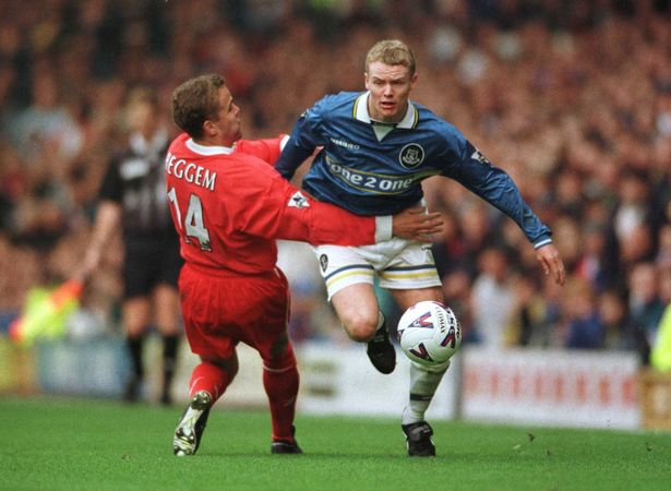 Ball gets the better of Vegard Heggem in the Merseyside derby (Image from Tumblr)